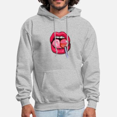 woman licking lollipop - Men's Hoodie