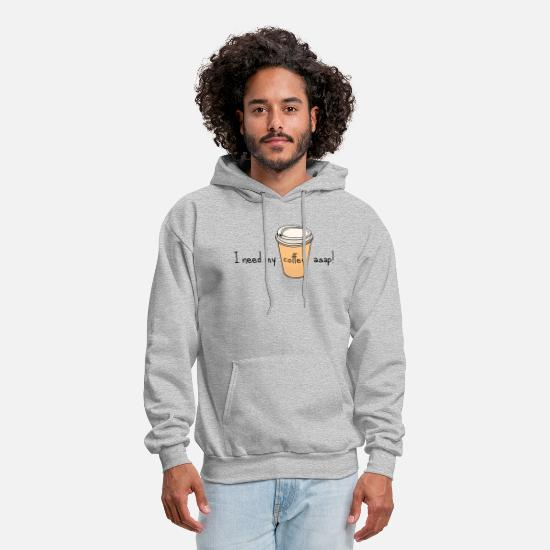 Asap Rocky Hoodies & Sweatshirts - I Need My Coffee ASAP! - Men's Hoodie heather gray