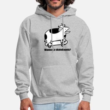 Cow A Cow Wanna Go Skateboards - Men's Hoodie