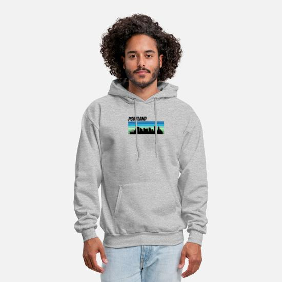 Retro Hoodies & Sweatshirts - Retro Portland Skyline - Men's Hoodie heather gray