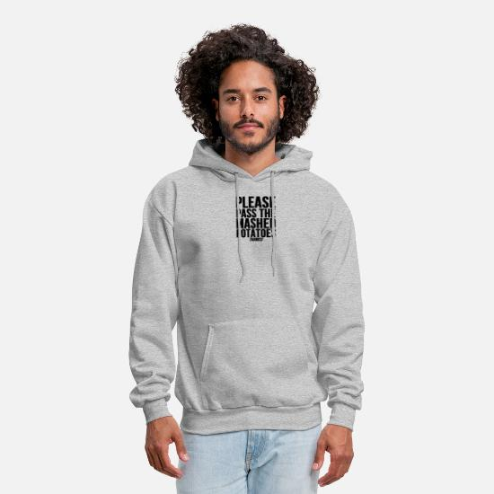 Symbol  Hoodies & Sweatshirts - Please Pass The Mashed Potatoes Holiday Dinner - Men's Hoodie heather gray
