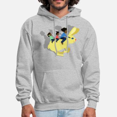 Happy Family Riding a Hare: Black woman and kids - Men's Hoodie