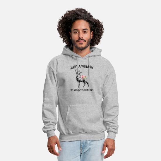 Hunting Hoodies & Sweatshirts - just a woman who loves hunting - Men's Hoodie heather gray