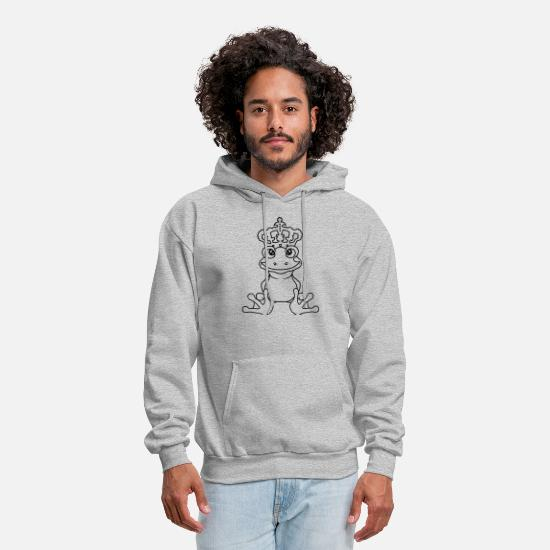 Gold Hoodies & Sweatshirts - crown frog prince gold ball fairy tale story princ - Men's Hoodie heather gray