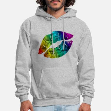 Lipstick Lips with Rainbow roses - Men's Hoodie