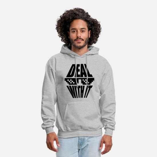 Deal Hoodies & Sweatshirts - sunglasses pixel saying cool text deal with it rel - Men's Hoodie heather gray