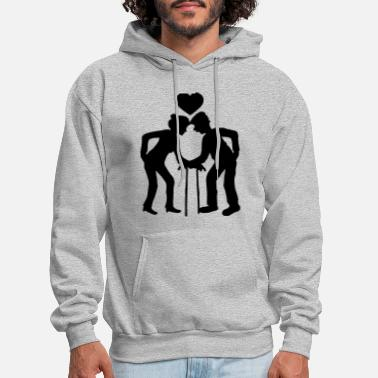 Couple heart man grandfather grandfather couple love in l - Men's Hoodie