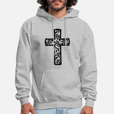 religious cross with leaves branches - Men's Hoodie