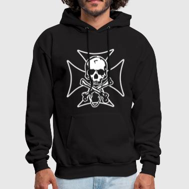 biker cross  skull and crossbones - Men's Hoodie