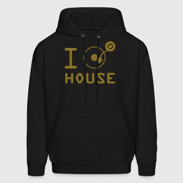 I play House Music / I love House Music / I heart House Music DJ Tuntable Vinyl Motif - Men's Hoodie