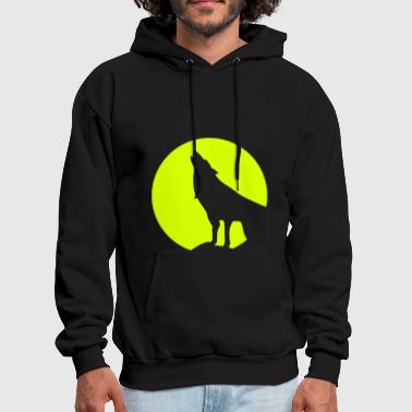 Wolf and Moonlight Silhouette - Men's Hoodie