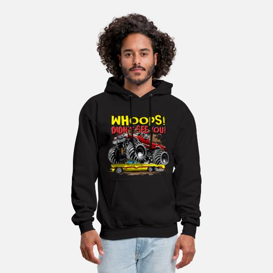 Monster Hoodies & Sweatshirts - Monster Truck Whoops Red - Men's Hoodie black