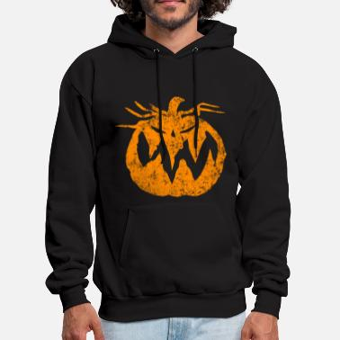 Halloween Orange Grunge Pumpkin - Men's Hoodie
