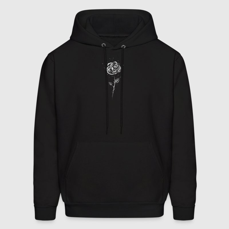 Drawing of a white rose - Men's Hoodie