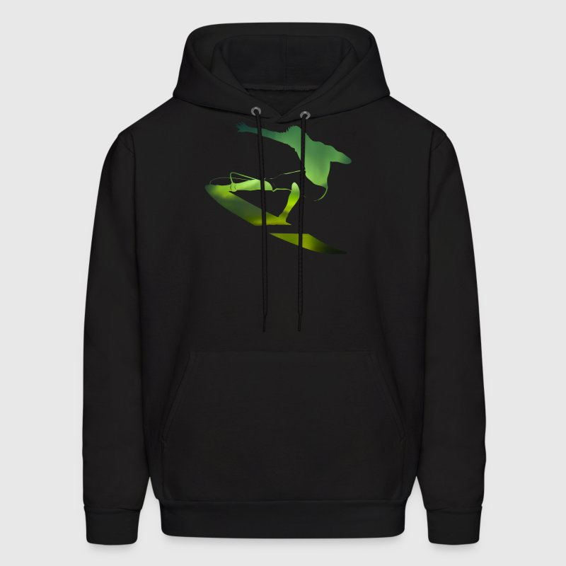Northern Lights surfer - wave surfers Sports Scene - Men's Hoodie