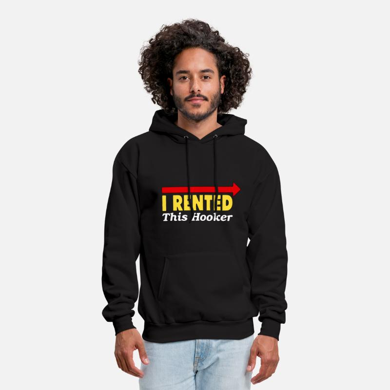 Down Hoodies & Sweatshirts - I Rented This Hooker - Men's Hoodie black