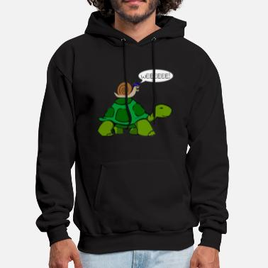 Snail Snail Riding on Turtle - Men's Hoodie