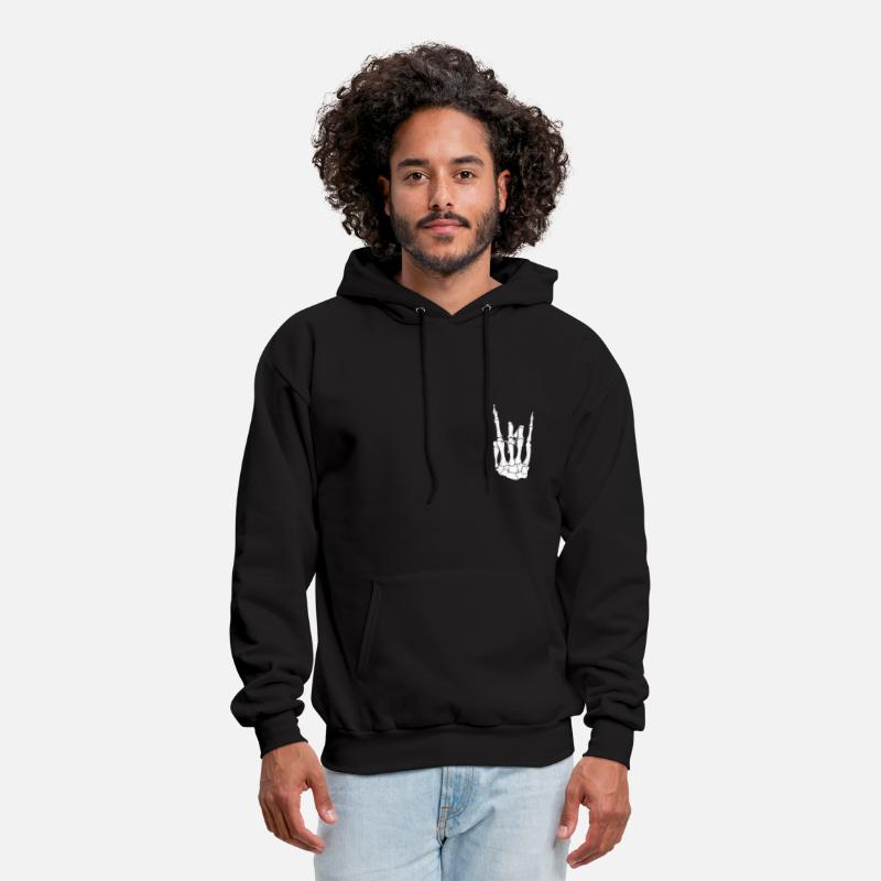 Skeleton Hand Hands Rock On Skull Skulls Skeletons Hoodie Hoodies & Sweatshirts - Skeleton Hand Rock On - Men's Hoodie black