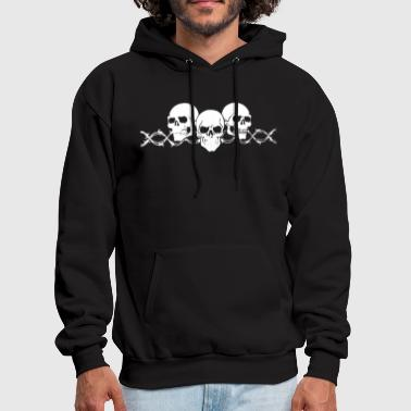 Barbed Wire Barbed Wire Skulls with Sleeves Long Sleeve Biker - Men's Hoodie