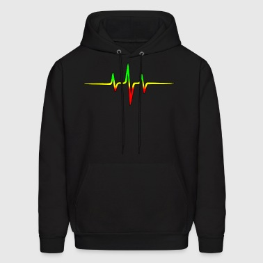 Music Pulse, Reggae, Sound Wave, Rastafari, Jah,  - Men's Hoodie