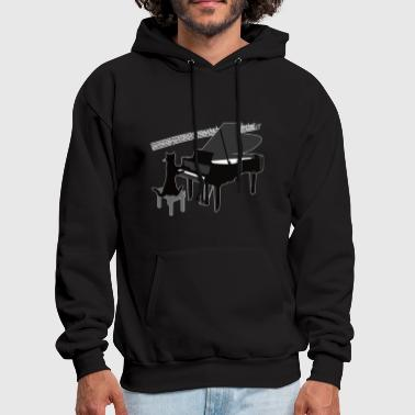 Funny Cat Playing Piano Keys Music Gift - Men's Hoodie