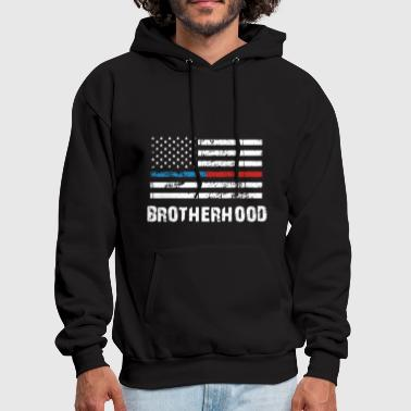 THIN BLUE RED LINE BROTHERHOOD FLAG FIREFIGHTER - Men's Hoodie