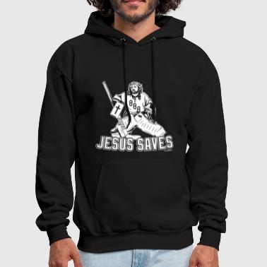 Jesus Saves Hockey Religion Savior Goalie - Men's Hoodie