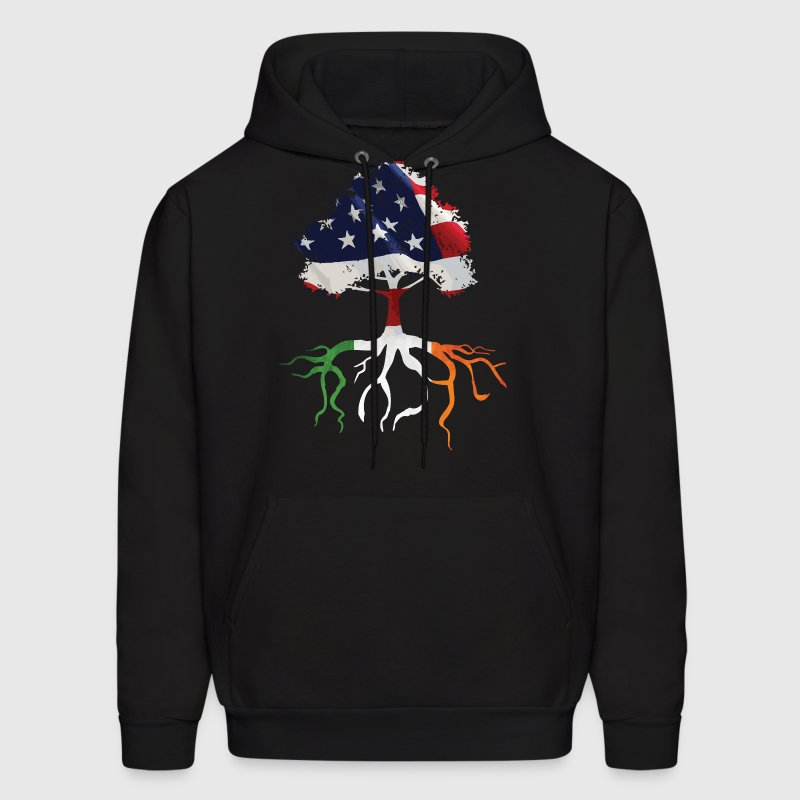 USA Irish Roots American Irish Flag Rooted Shirts - Men's Hoodie