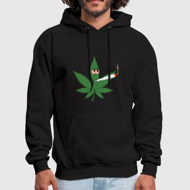 Cannabis Leaf Smoking a Spliff - Men's Hoodie