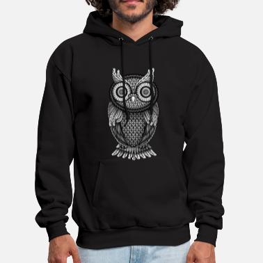 ornamental Owl Design black and white - Men's Hoodie