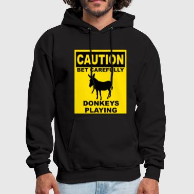 Play Poker POKER: CAUTION Donkeys Playing - Men's Hoodie