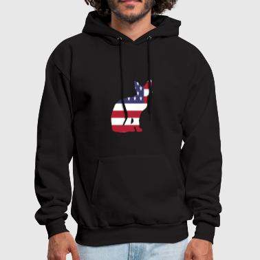 American Flag Cat Happy 4th of July - Men's Hoodie