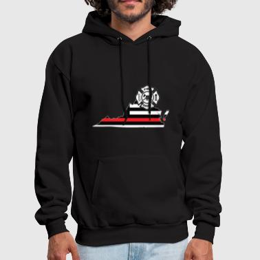 Virginia Firefighter Shield Thin Red Line Flag - Men's Hoodie