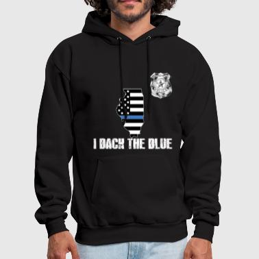 Illinois Police Appreciation Thin Blue Line I Back The Blue - Men's Hoodie