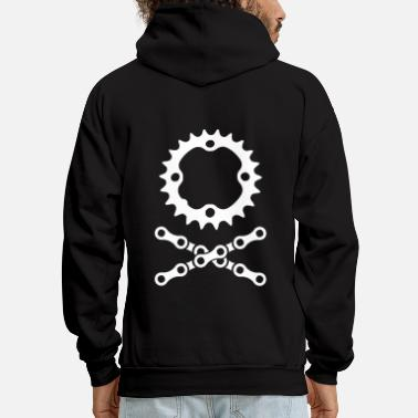 Mountain Bike bike chain chainring skull crossbones - Men's Hoodie