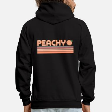 Fruits Peachy Peach Fruit Happy Happiness Quote - Men's Hoodie