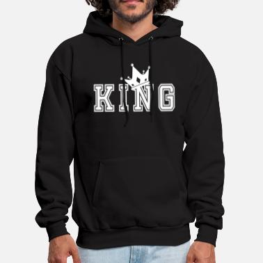 King And Queen Valentine's Day Matching Couples King Crown - Men's Hoodie