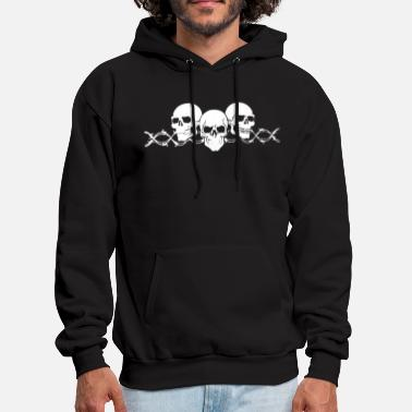 Wire Barbed Wire Skulls with Sleeves Long Sleeve Biker - Men's Hoodie