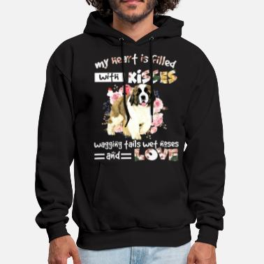 my heart is filled with kisses wagging fails wet n - Men's Hoodie