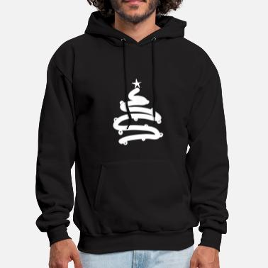 Tree Line Simple Lined Christmas Tree With Ornaments - Men's Hoodie