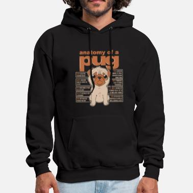 Anatomy of a pug funny full colors - Men's Hoodie