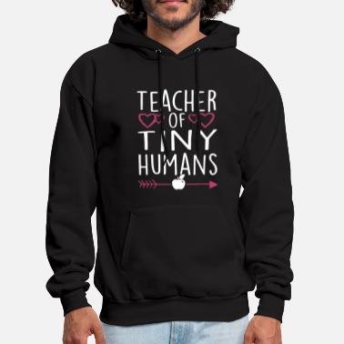 Puns teacher of tiny humans apple white and black for m - Men's Hoodie