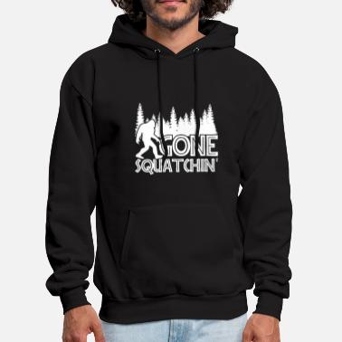gone squatchin live in the moutain trees camping s - Men's Hoodie