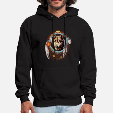 Dream Catcher Wolf dream catcher Indian Native - Men's Hoodie
