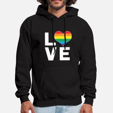 Gay Pride Love Rainbow Heart Gay Lesbian LGBT Pride - Men's Hoodie