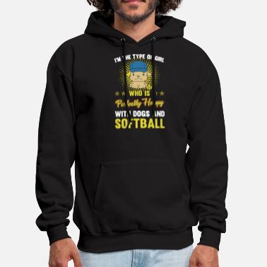 PERFECT GIRL WITH DOG AND SOFTBALL - Men's Hoodie