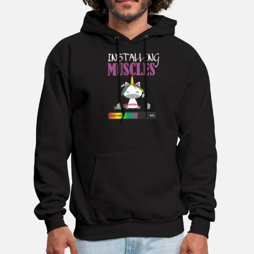 58ee1162a5803b Installing Muscles - Funny unicorn gym T-shirt - Men s Hoodie. Front