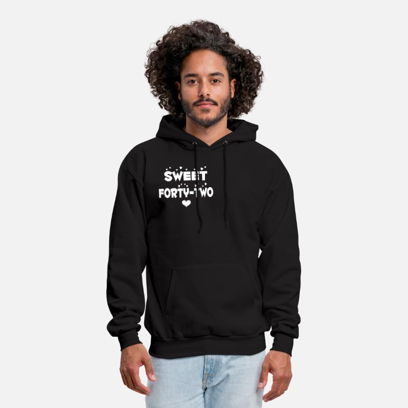 Happy Holidays Hoodies & Sweatshirts - Sweet Forty Two Happy Forty Two Birthday - Men's Hoodie black
