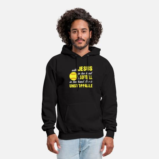 Jesus Hoodies & Sweatshirts - with jesus in her nerat baseball t shirts - Men's Hoodie black