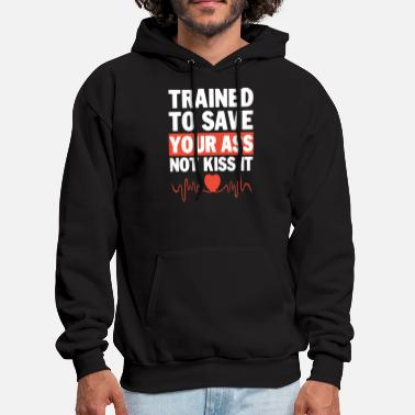 Punch trained to save your ass not kiss it gym - Men's Hoodie